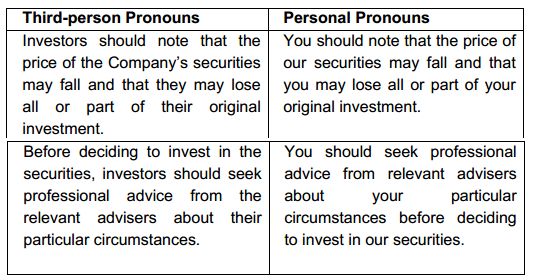 IPO English should be in third person