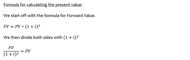 Formula for calculating the present value