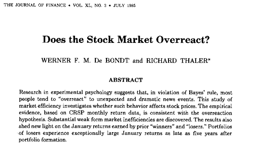 does the stock market overreact Vestors such as pension funds to invest in equity after a stock market downturn (   de bondt, w f m & thaler, r h (1985), 'does the stock market overreact.