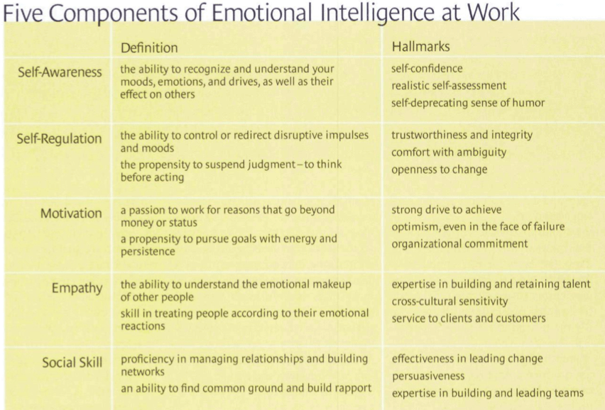 Five Principles of Emotional Intelligence - Goleman 1995