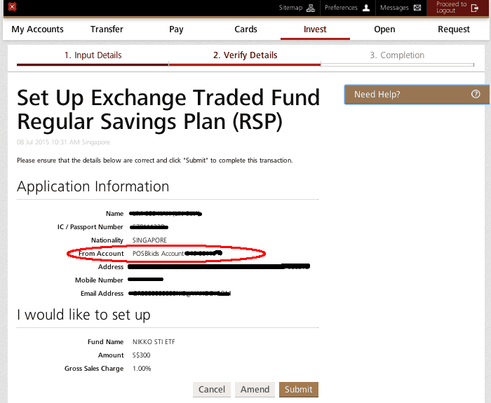 Setting up the Invest Saver Plan