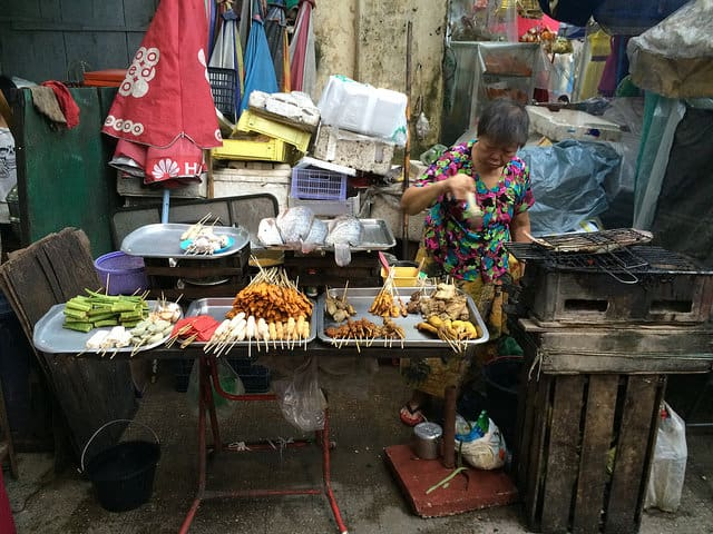 Street food stalls spring up during early evenings