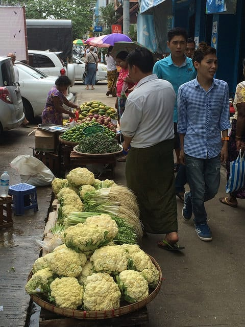 Street vendors like this is common in Yangon.