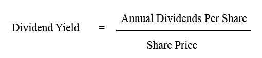 Image result for dividend yield formula
